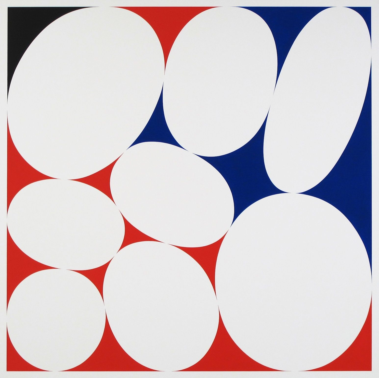 CARY SMITH, Ovals #21 (red-blue-black),2015