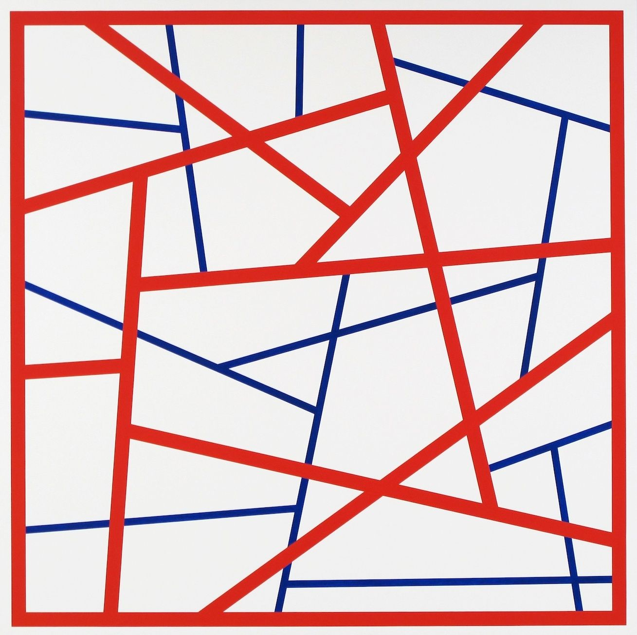 CARY SMITH, Straight Lines #18 (red-blue),2015
