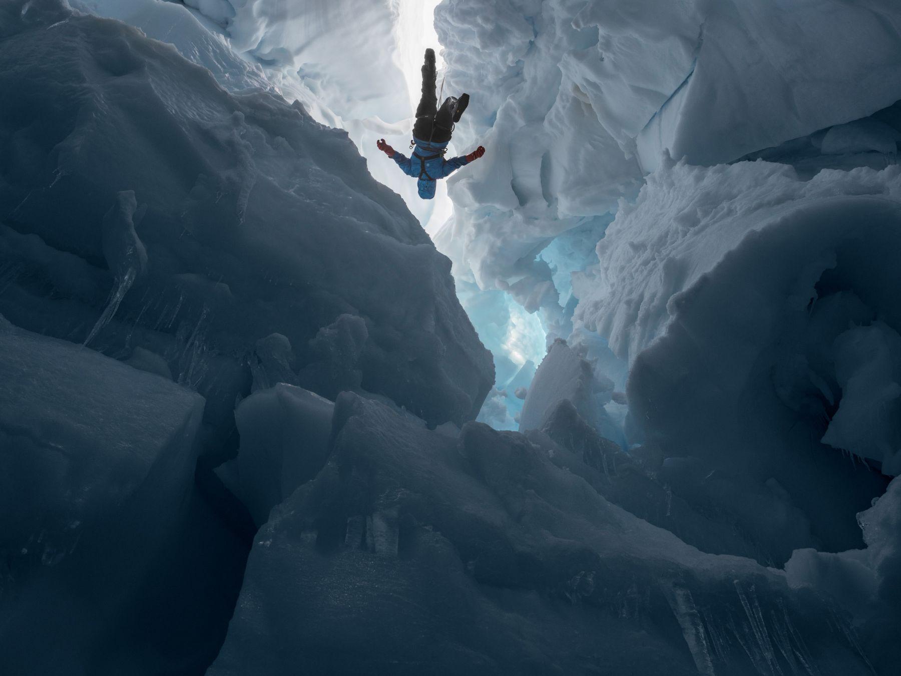 LUCAS FOGLIAKenzie inside a Melting Glacier, Juneau Icefield Research Program, Alaska, 2016
