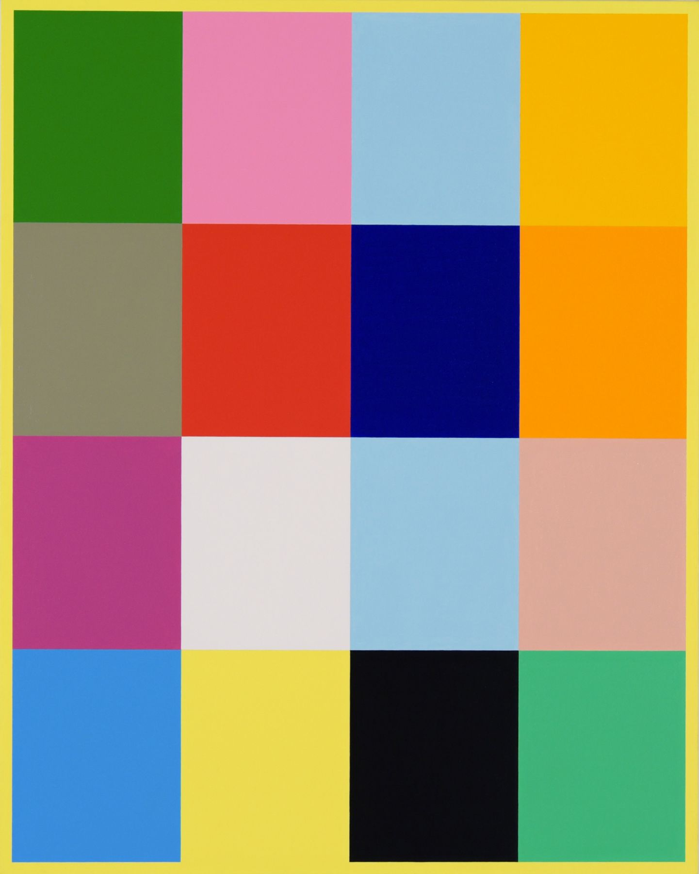 Cary Smith, Color Blocks #1 (with yellow border), 2017