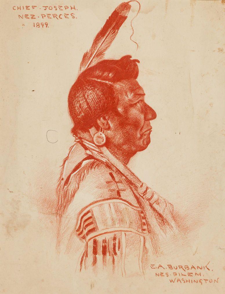 Chief Joseph, Nez Perce, native american art, Elbrigde Albert Burbank, 1899,