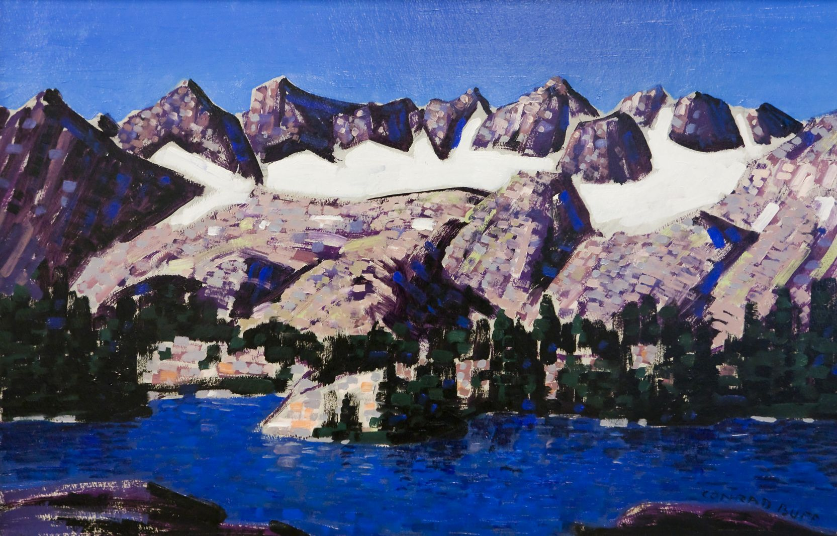 Conrad Buff, Snow-capped Mountains above Lake Mary, Eastern Sierras, Oil on Board, mountain landscape