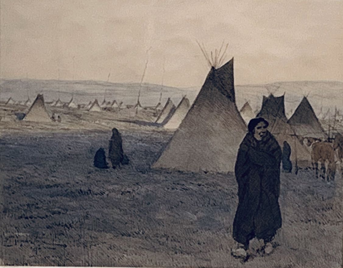 Maynard Dixon, native american, watercolor, historical art, Ogalala Sioux