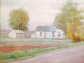 LeConte Stewart, White House with Green Roof, utah artist, utah art, landscape