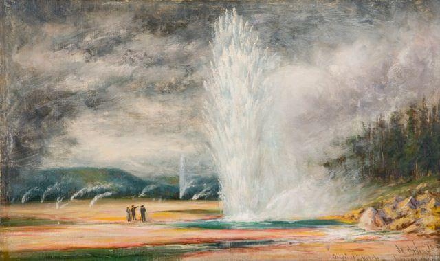 James Everett Stuart, Yellowstone, Wyoming, Yellowstone National Park, western art, 1885