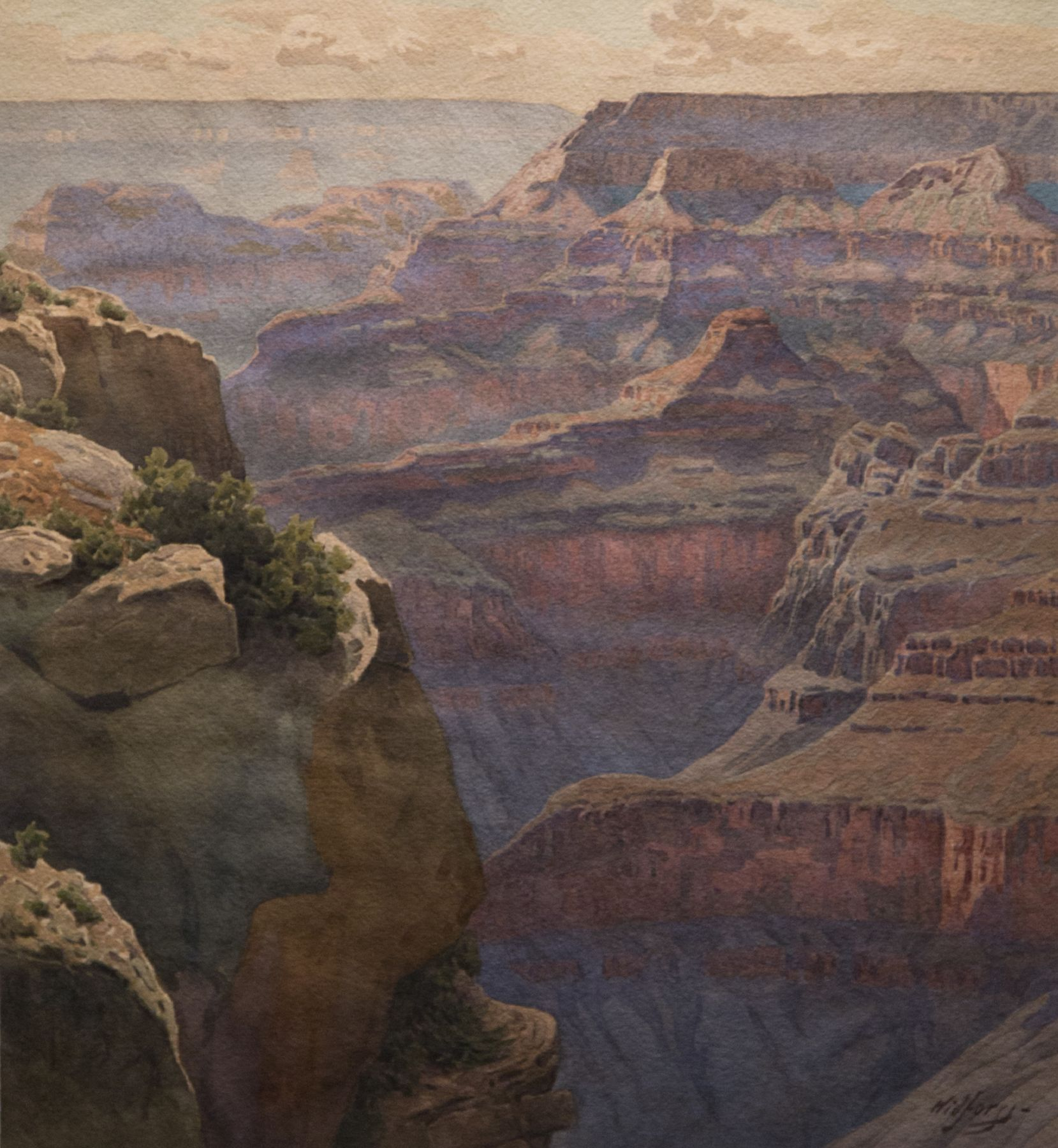 Gunnar Widforss, View of Hopi Point on the west rim of the Grand Canyon, Grand Canyon National Park, Western art, watercolor