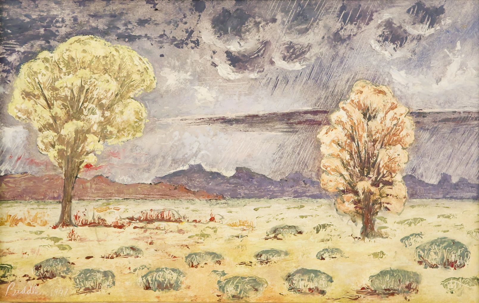 George Biddle, Mesquite and Sycamore: Valley of the Virgin River, Utah, WPA, david dee fine arts,