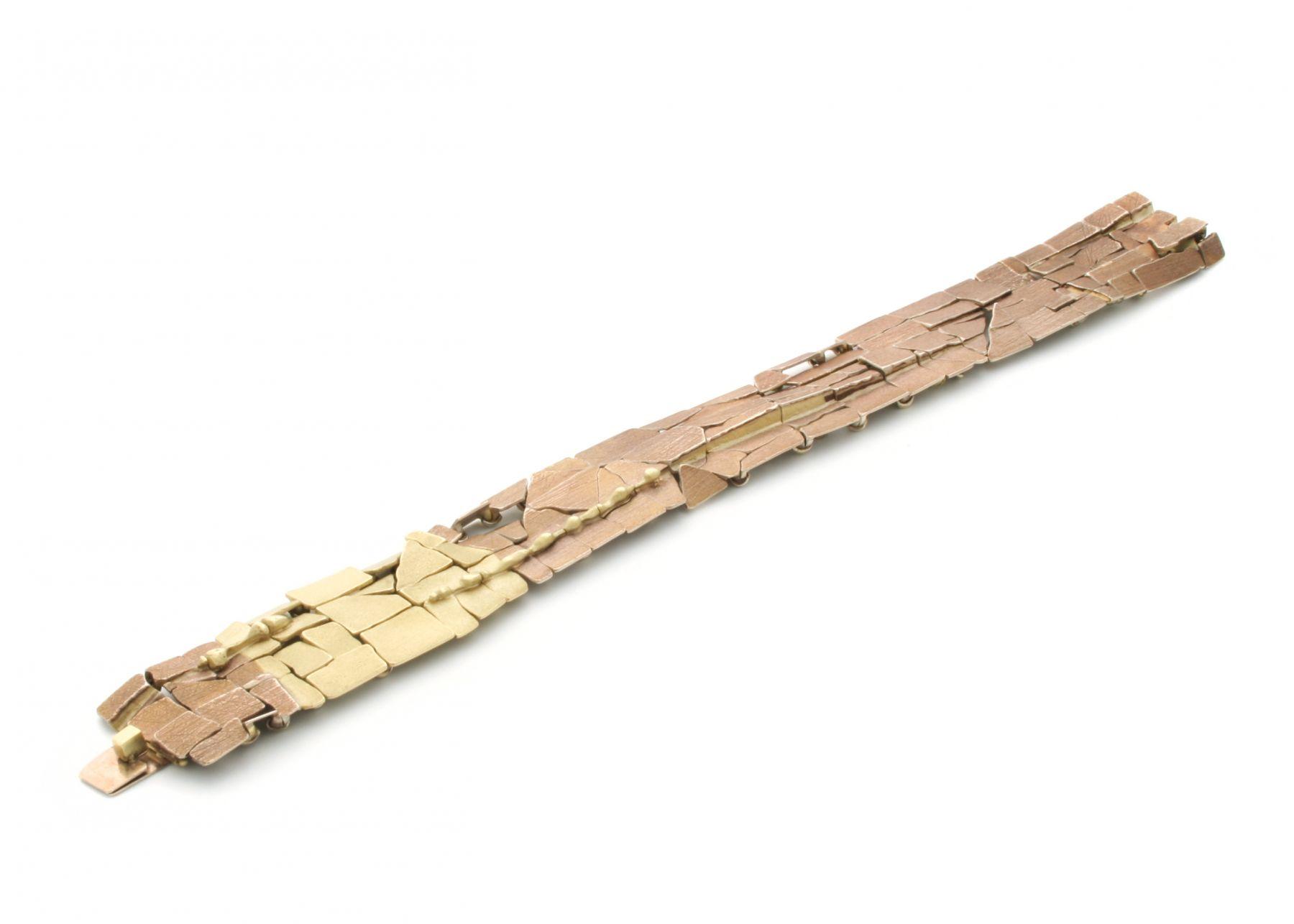 John Iversen, crackle, bracelet, gold, contemporary, jewelry