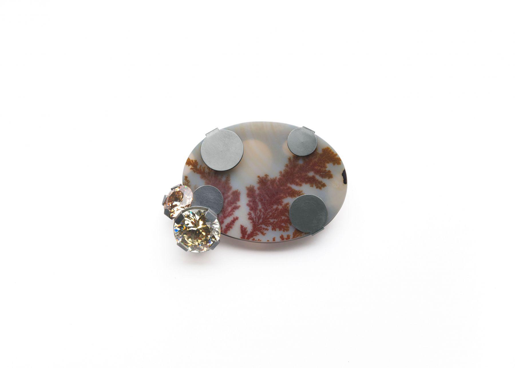 Ute Eitzenhöfer, brooch, stone, silver, German, Contemporary Jewelry