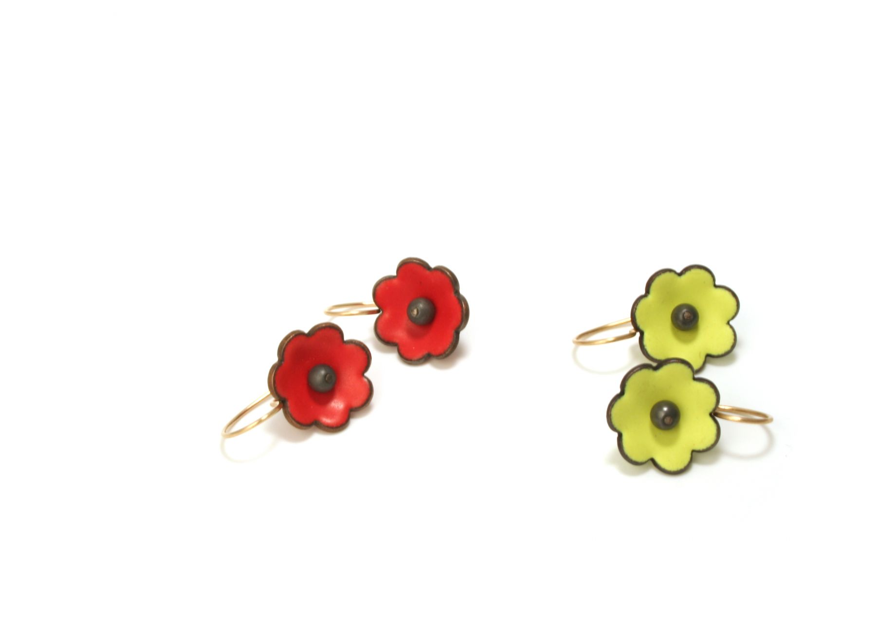 Enamel flower earrings Joan Parcher
