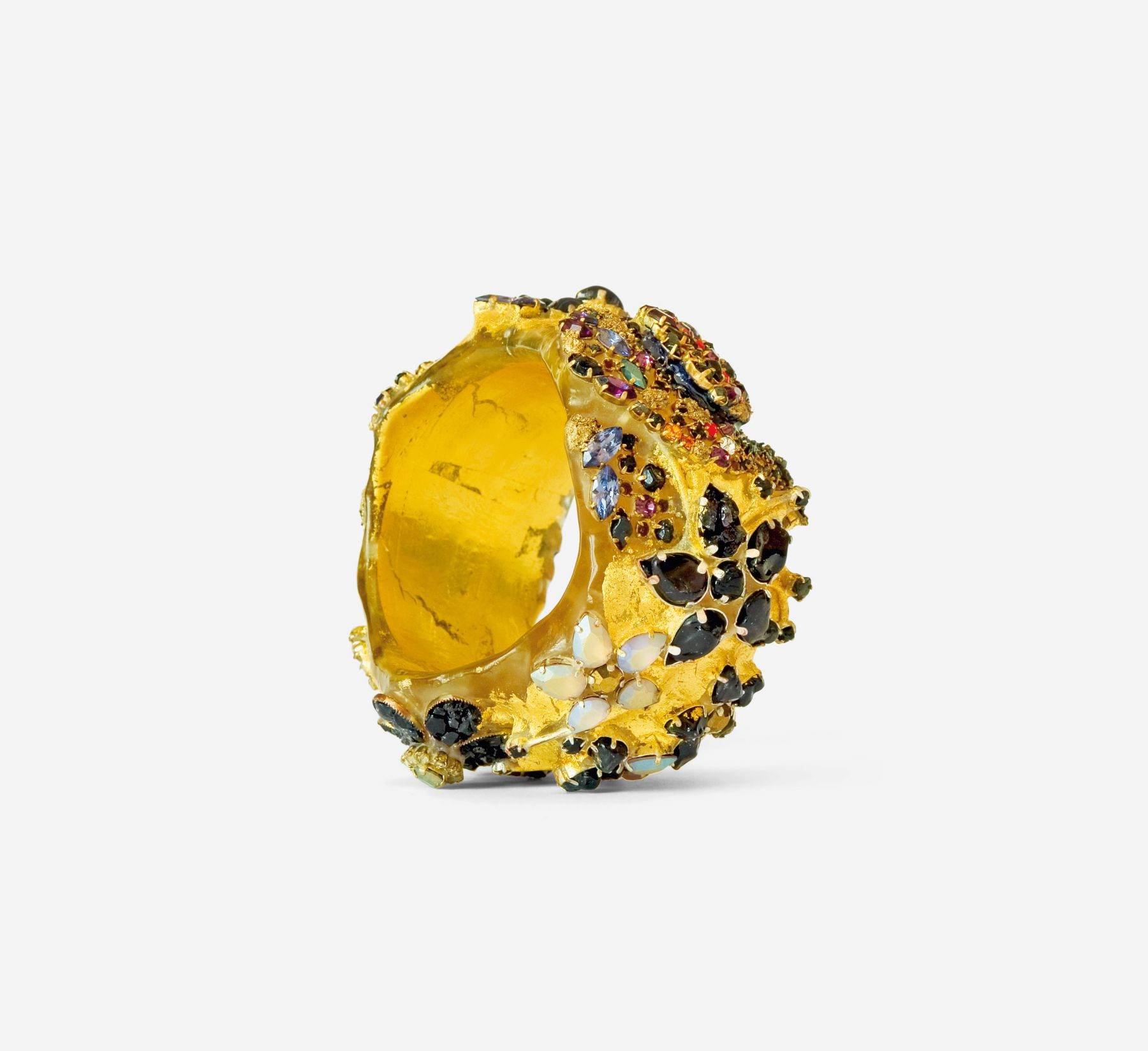 Petra Zimmermann bracelet, Austrian contemporary jewelry, encrusted, acrylic
