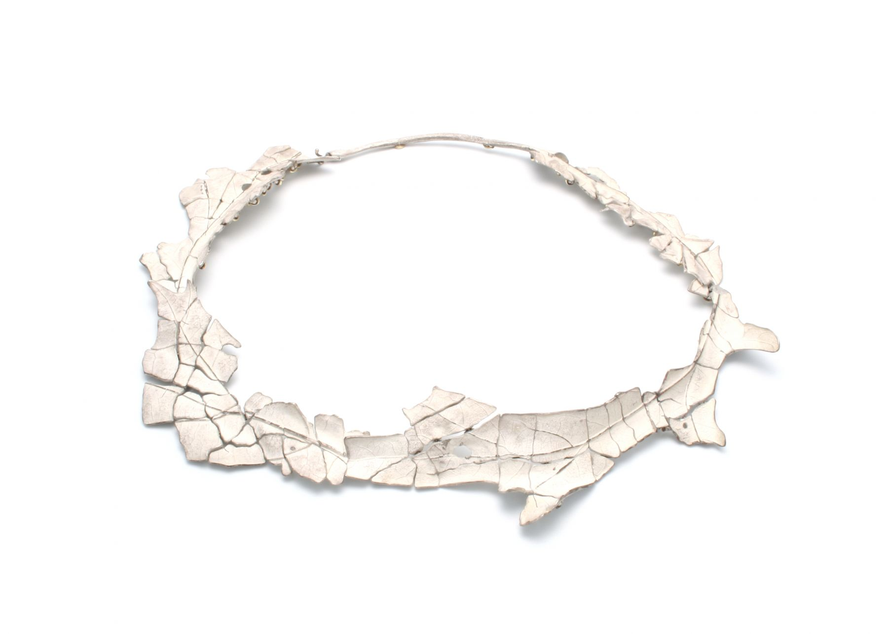 John Iversen, crackle, leaf, necklace