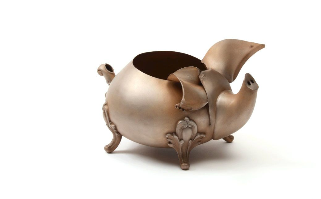 Pig Vessel, silver, teapot, David Bielander