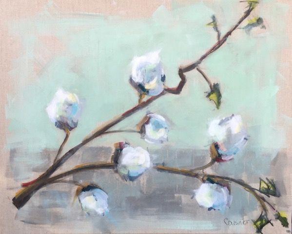 Cotton Bolls on Linen