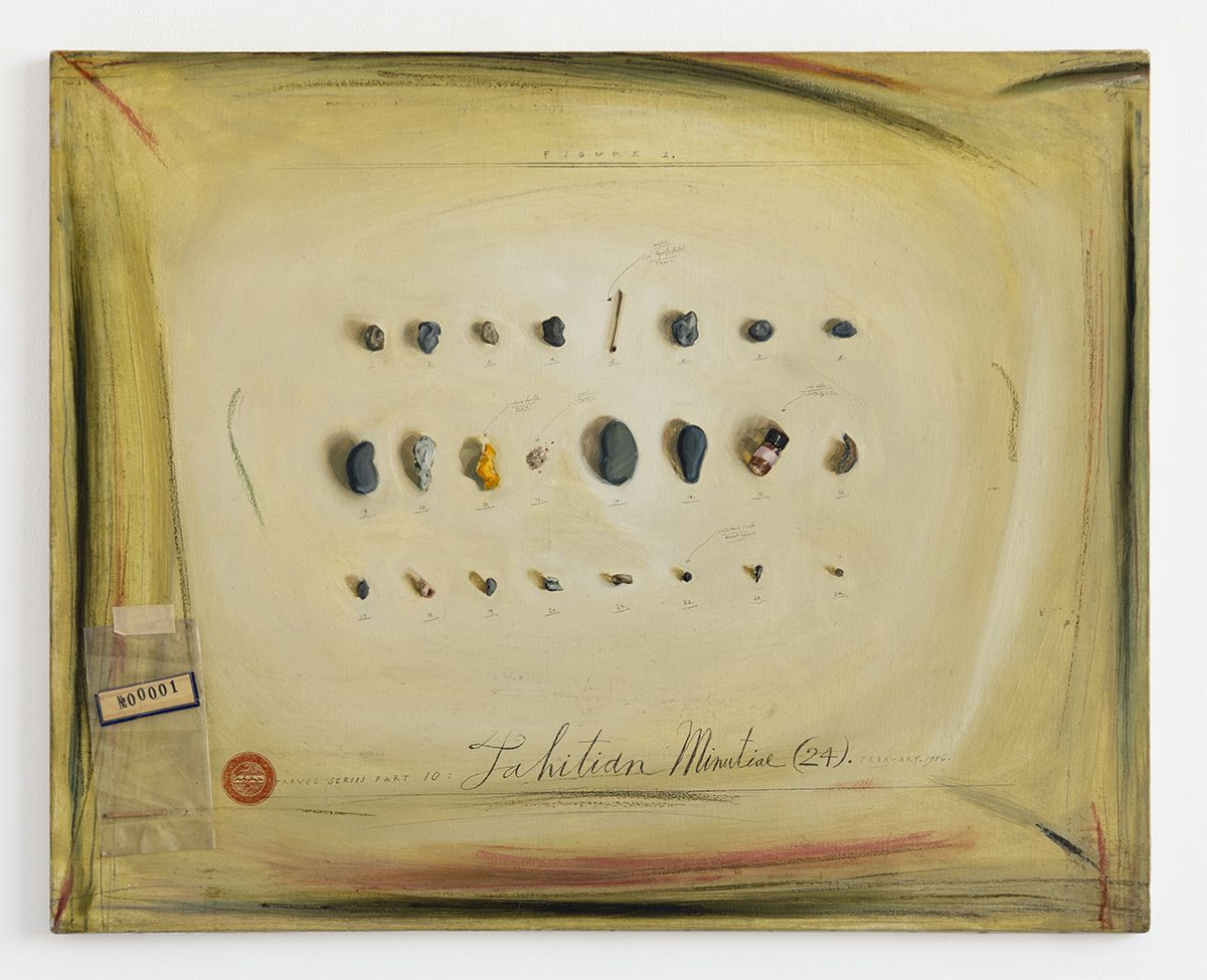 Candy Jernigan, Travel Series Part 10 – Tahitian Minutial (24) – February 1986, 1986,  Oil and collage on canvas,  24 x 30 x 3/4 inches (61 x 76.2 x 1.9 cm)