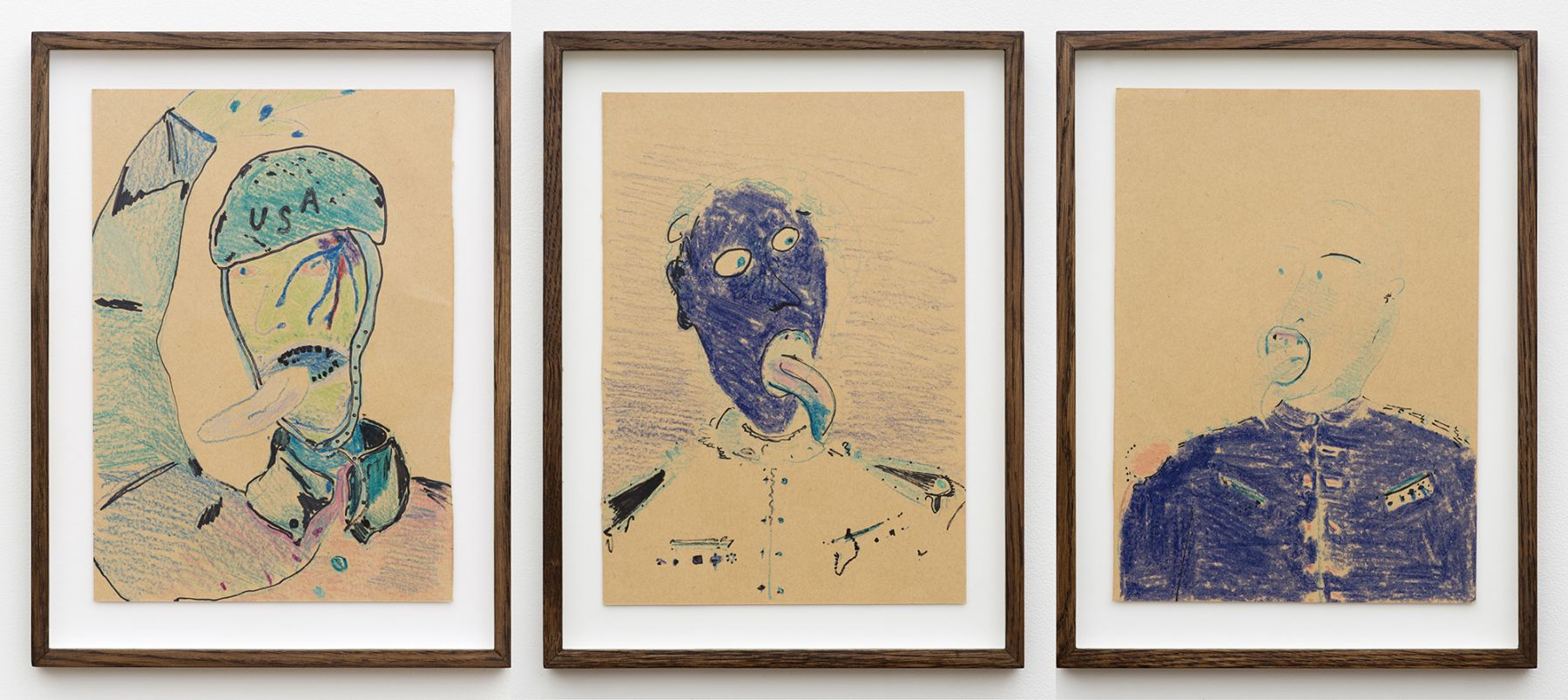 Calvin Marcus Military Man with Tongue, 2015 Crayon and sharpie on paper Paper: 11 1/2 x 8 inches (29.2 x 20.3 cm) each Frame: 14 1/4 x 10 3/4 inches (36.2 x 27.3 cm) each