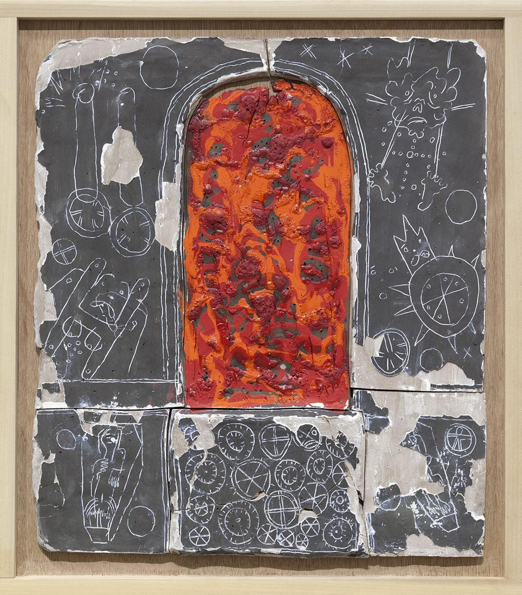 Richard Hawkins  Norogachian Consecration of Blood and Sperm, 2016  Glazed ceramic in artist's frame   25 3/4 x 22 5/8 x 2 inches (65.4 x 57.5 x 5.1 cm)