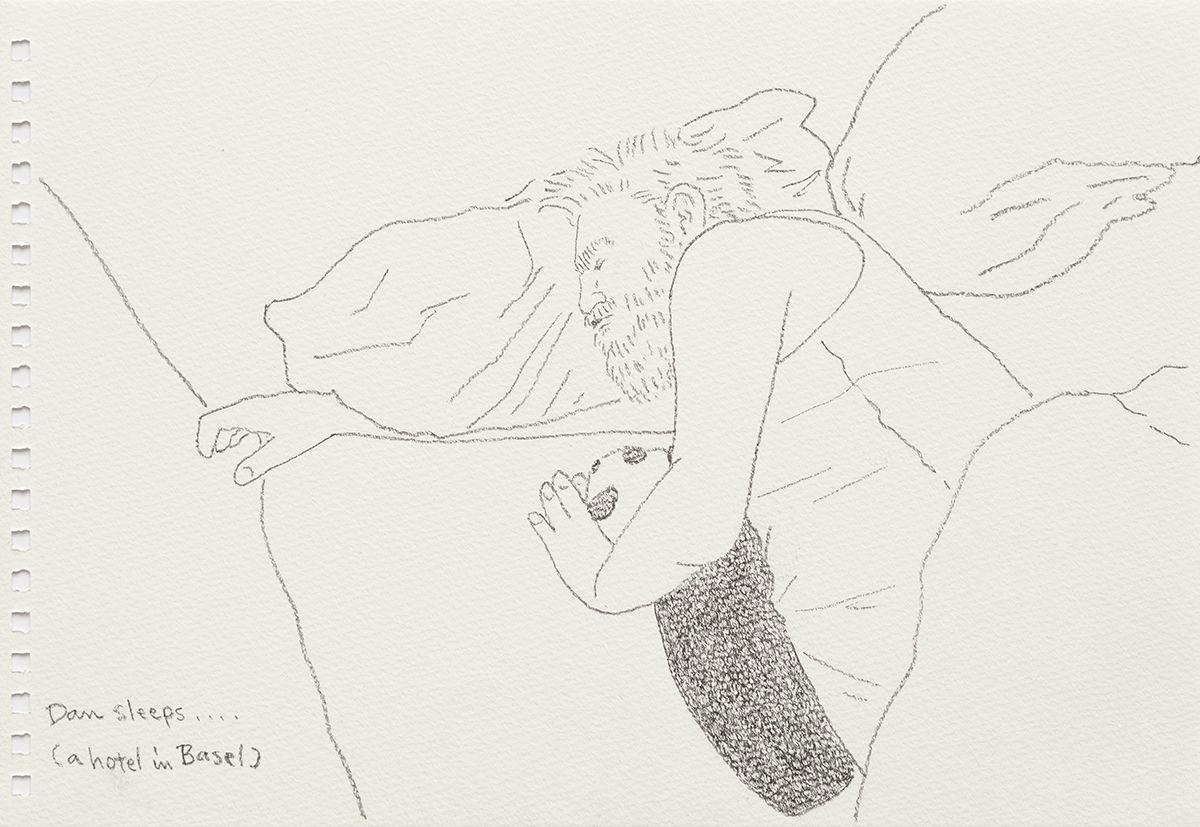 Mieko Meguro Dan Sleeps...(A Hotel In Basel) , 2016 Graphite on paper Image: 6 3/8 x 9 7/8 inches (16.5 x 25.1 cm)  Frame: 9 1/2 x 12 1/2 x 1 1/8 inches (24.1 x 31.7 x 3.0 cm)