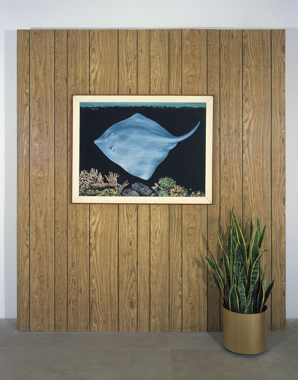 Manta Ray, 1981, Framed oil on canvas painting with wood paneled wall and potted snake plant
