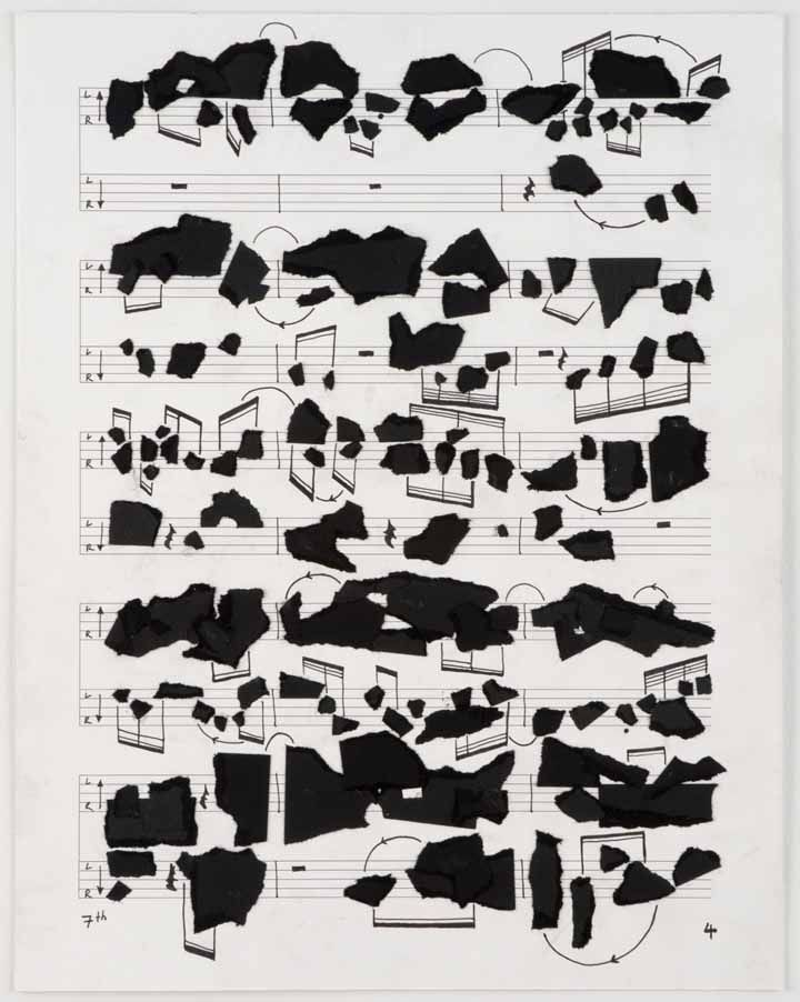 Page 4 of the Score of 7th Light, 2007, Ink, collage on paper