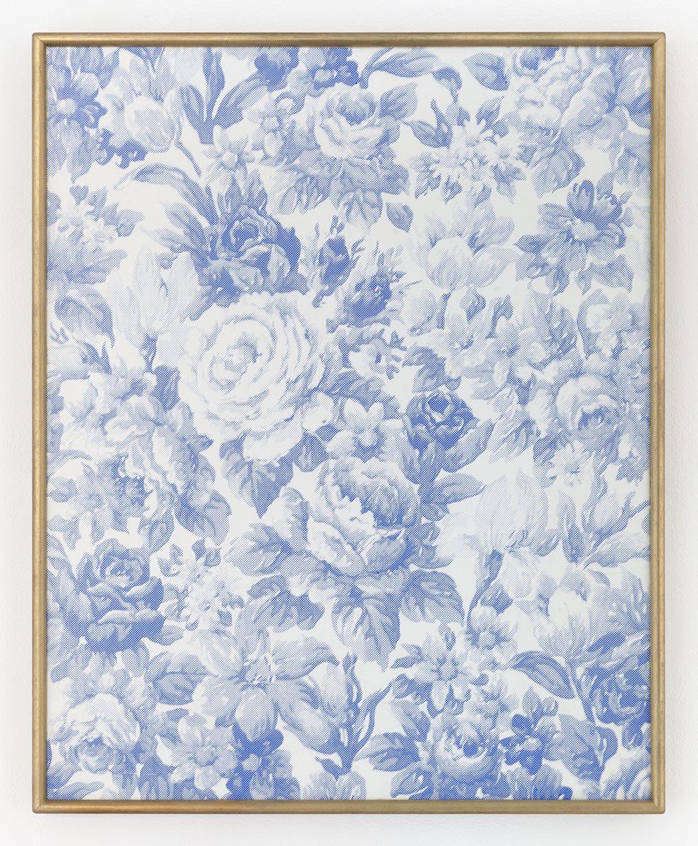 Daan van Golden Composition with roses (blue), 2015 (TBC) Silkscreen  16 7/8 x 20 9/16 inches (41.9 x 51.5 cm)