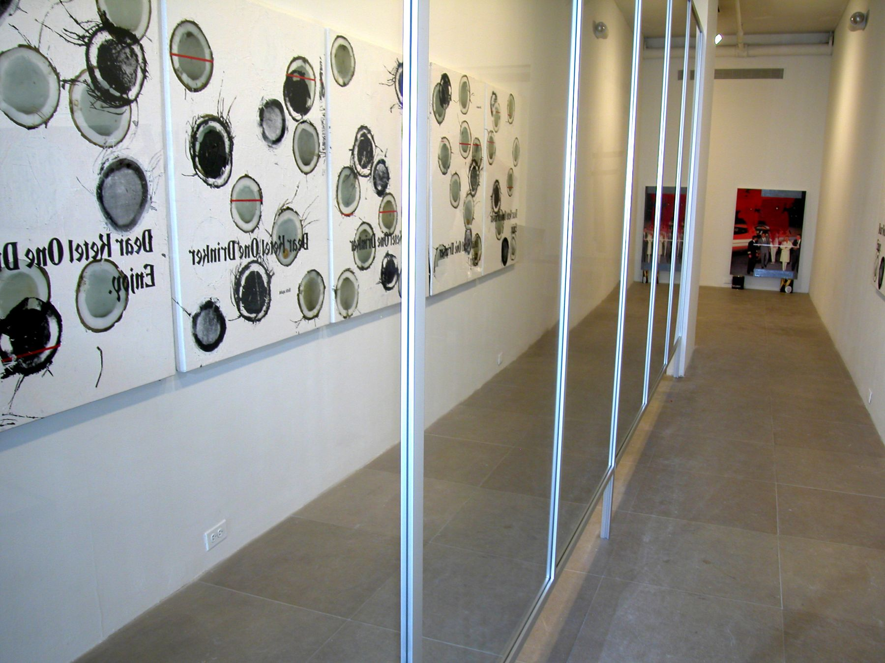 Coconut Corridor, 2005,  6 paintings, silkscreen and digital inkjet on canvas, reflective plexiglass screen,  paintings 48 x 36 inches, installation dimensions variable,  Installation view, Greene Naftali, New York, 2005