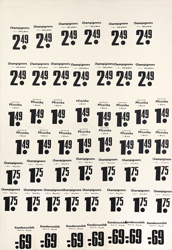 Konrad Lueg, Untitled (Champignons...), 1967, Silkscreen on canvas, 57 x 39 1/8 inches
