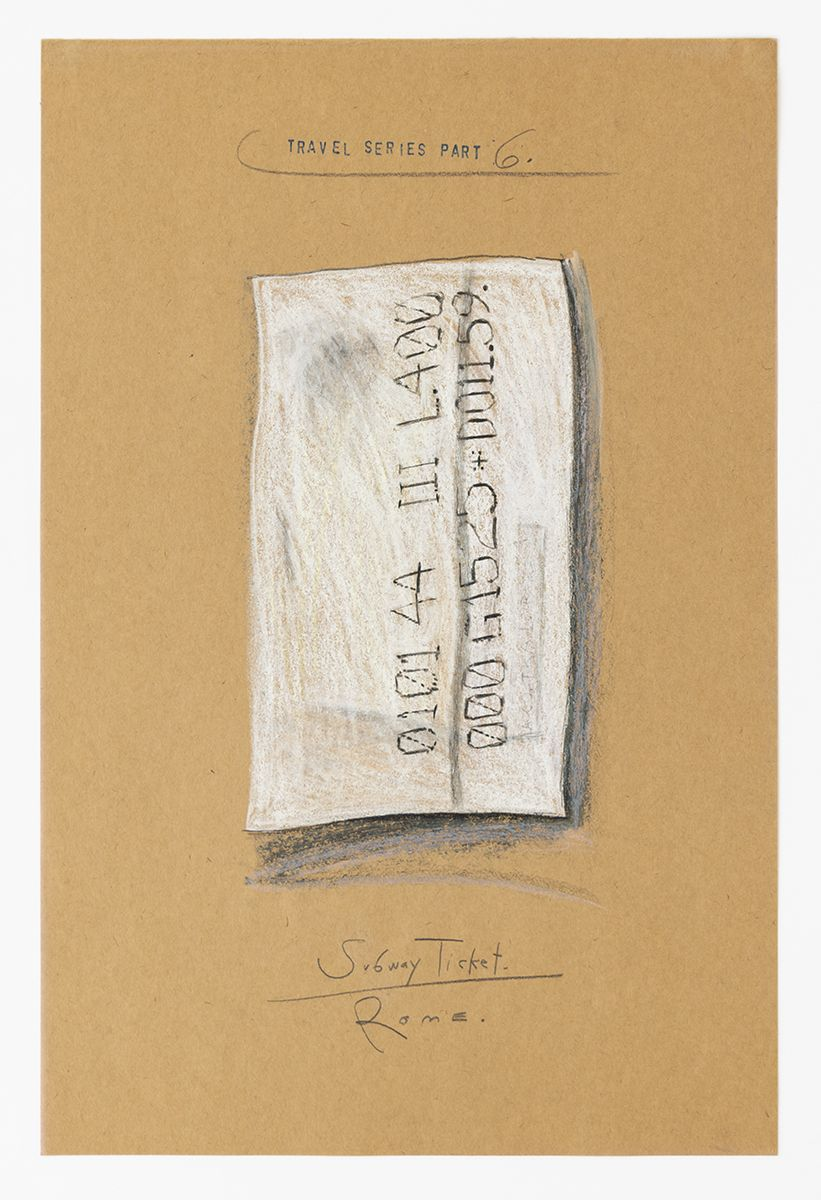 Candy Jernigan, Travel Series – Part 6, Subway Ticket – Rome, 1984,  Pastel and rubber stamp on paper,  Image: 18 x 12 inches (45.7 x 30.5 cm),  Frame: 21 x 14 3/4 x 1 1/2 inches (53.3 x 37.5 x 3.8 cm)