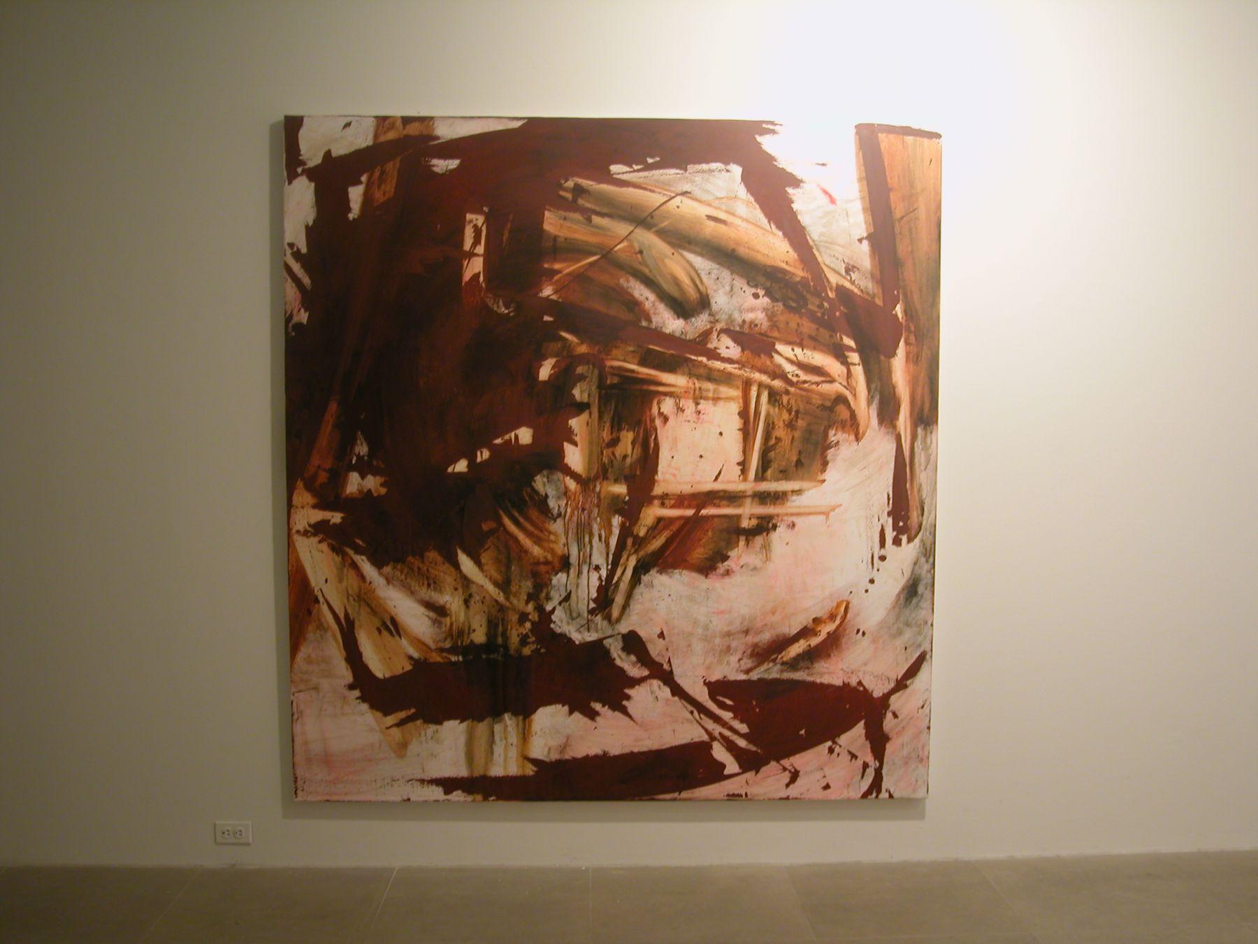 Charline von Heyl,  Defenster 2, 2004,  oil on canvas,  82 x 78 inches