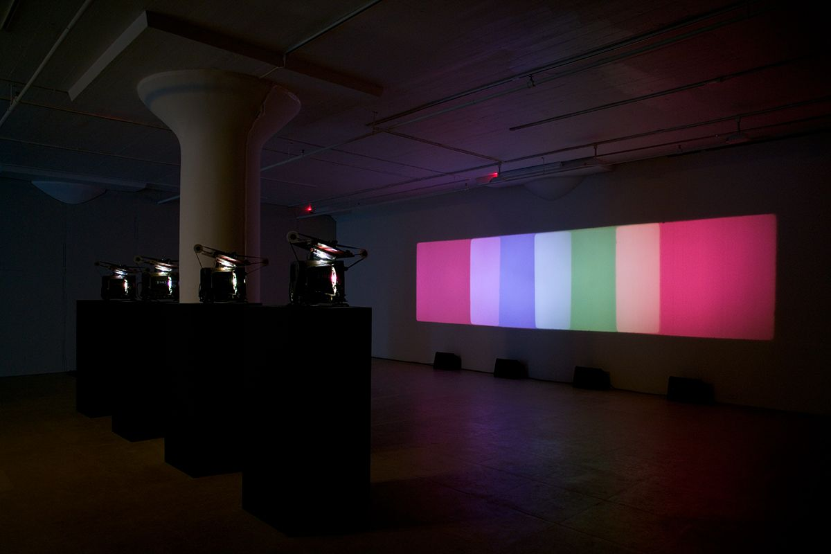 Paul Sharits, Shutter Interface, 1975, 4-screen 16mm loop projection with 4 separate soundtracks, color, Indefinite duration