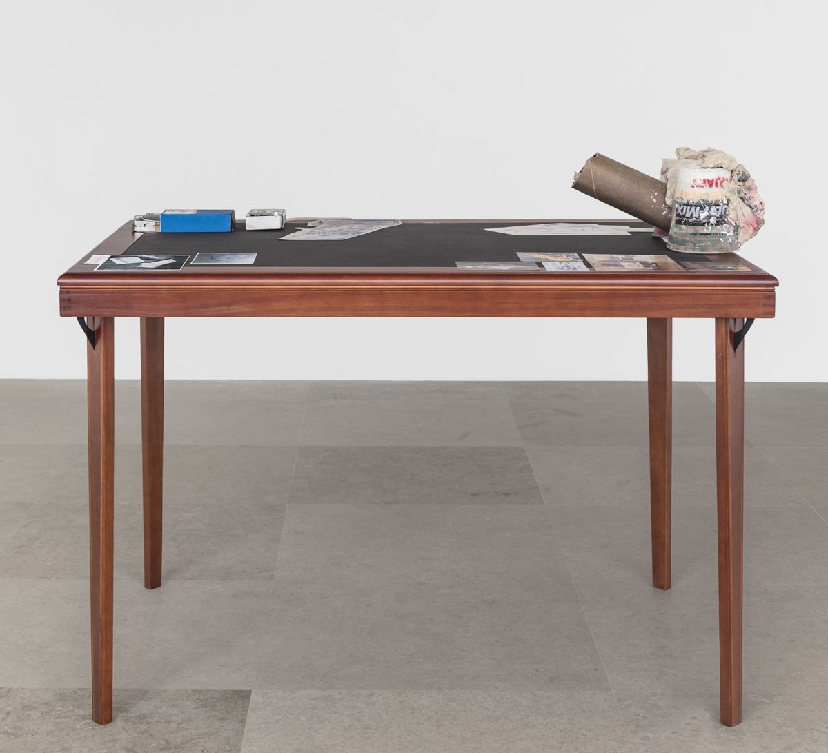 After Artaud, The sexual awkwardness of god, Rape Table, 2019, Plastic, air-dry clay, cardboard tube, boxes, razors, matches, mousetrap, office hardware, cow's blood and collage on table, 37 x 46 x 32 inches (94 x 116.8 x 81.3 cm)