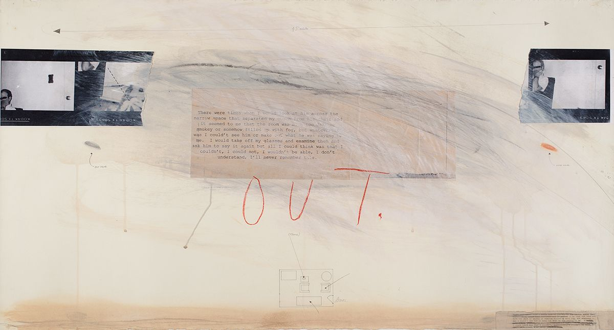 Candy Jernigan, OUT, 1989, Acrylic, pastel, and collage on paper, 27 x 47 x 2 inches (68.6 x 119.4 x 5.1 cm)