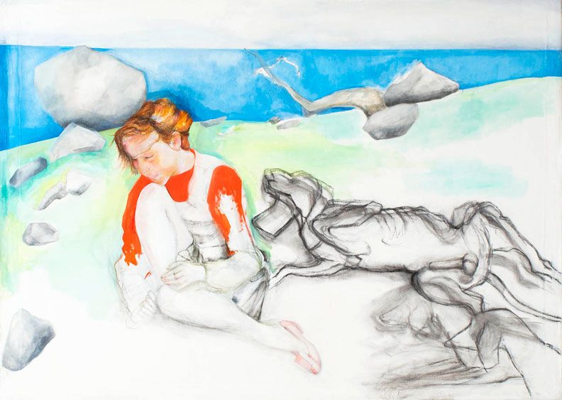 Katharina Wulff, Maedchen mit Jagdhunden (Girl with Hunting Dogs), 2010, pencil and colored pencil on paper, 11 3/4 x 16 1/4 inches