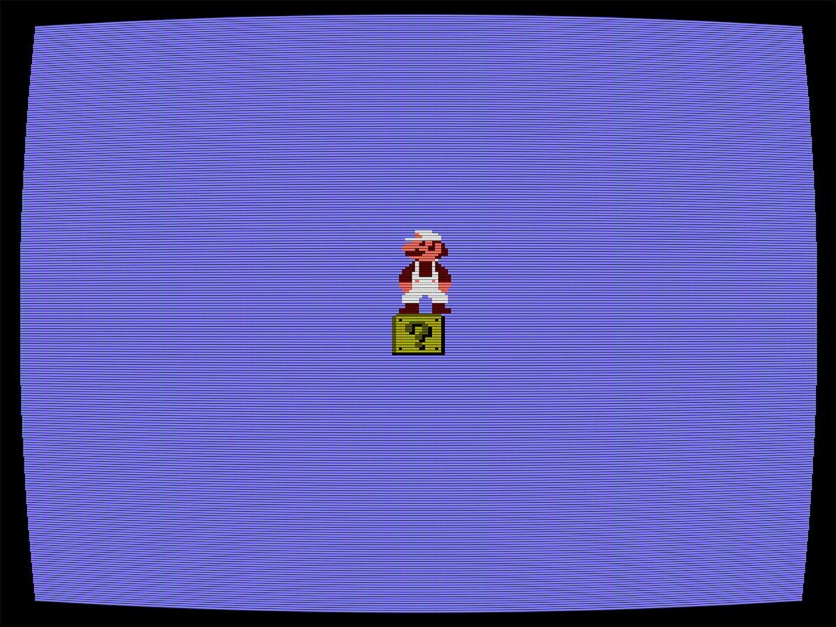 Cory Arcangel  Totally Fucked, 2003,  (Screenshot),  Handmade hacked Super Mario Bros, cartridge, Nintendo NES video game system, artist software
