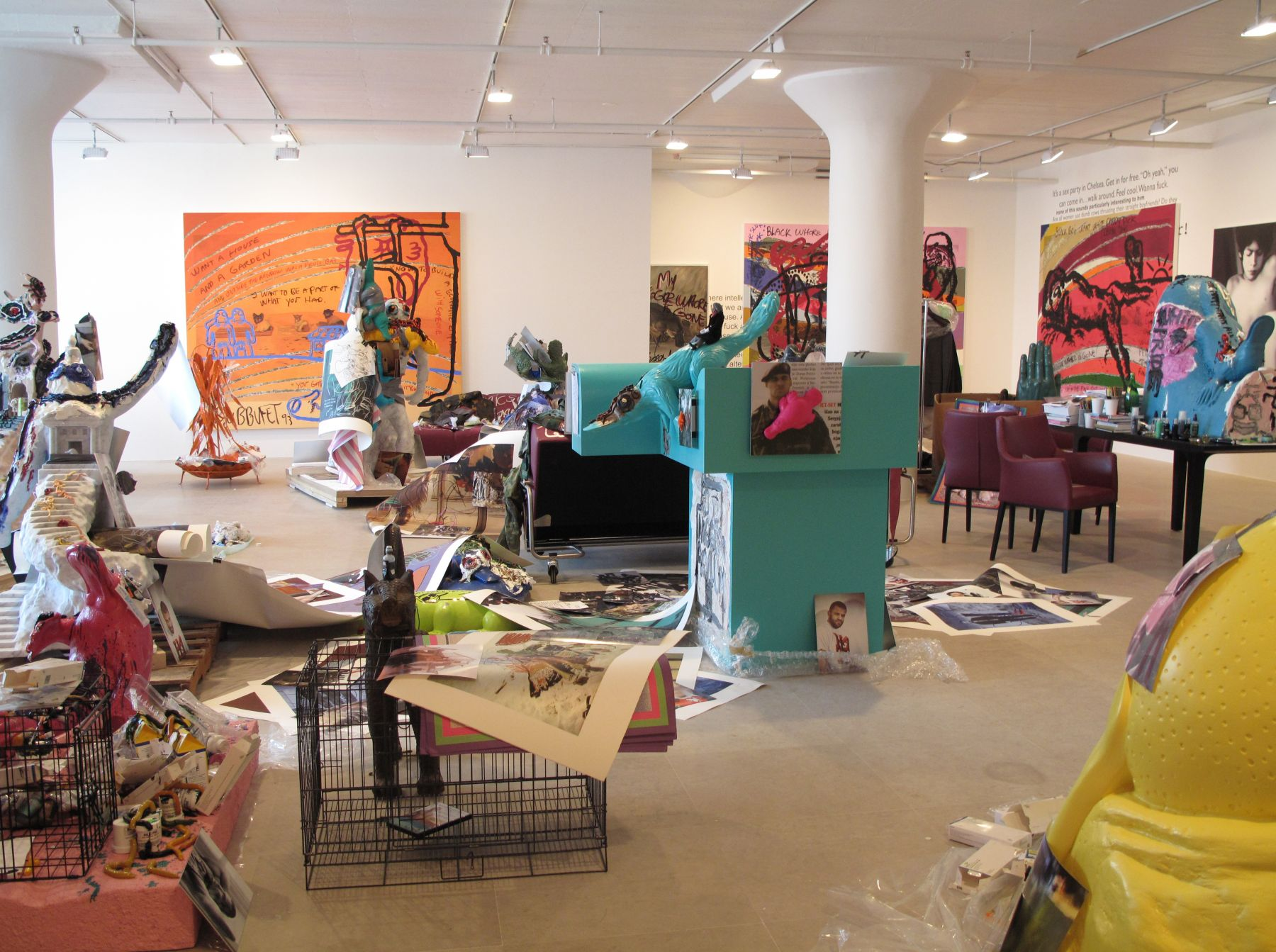 Installation view, The Synthetic Slut: A Novel by Bjarne Melgaard, Greene Naftali, New York, 2010