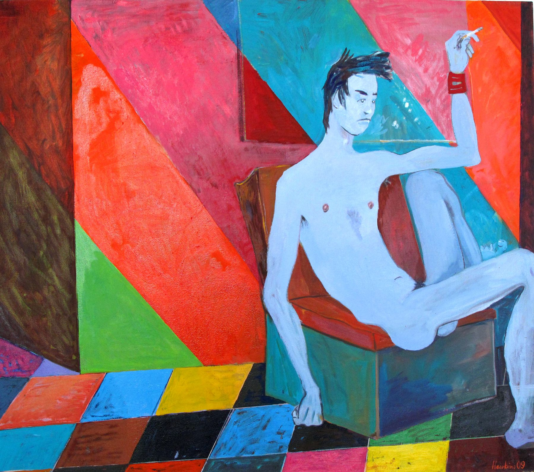 Richard Hawkins In between shows, 2009 oil on linen 37 x 42 inches (94 x 106.7 cm)