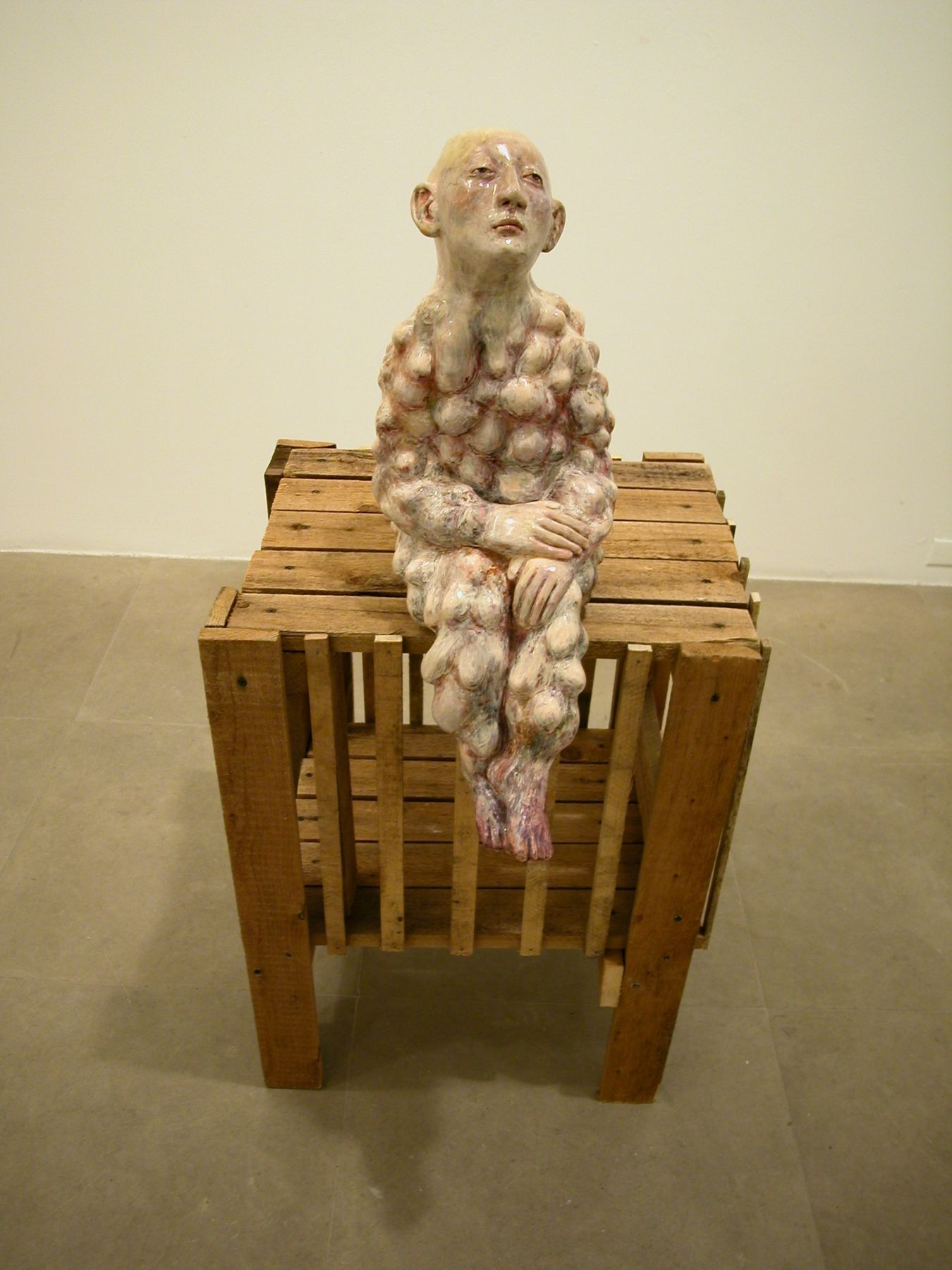 Paloma Varga Weisz,  Ohne Titel, 2003,  clay, enamel and wood, 65 x 24 x 23 inches