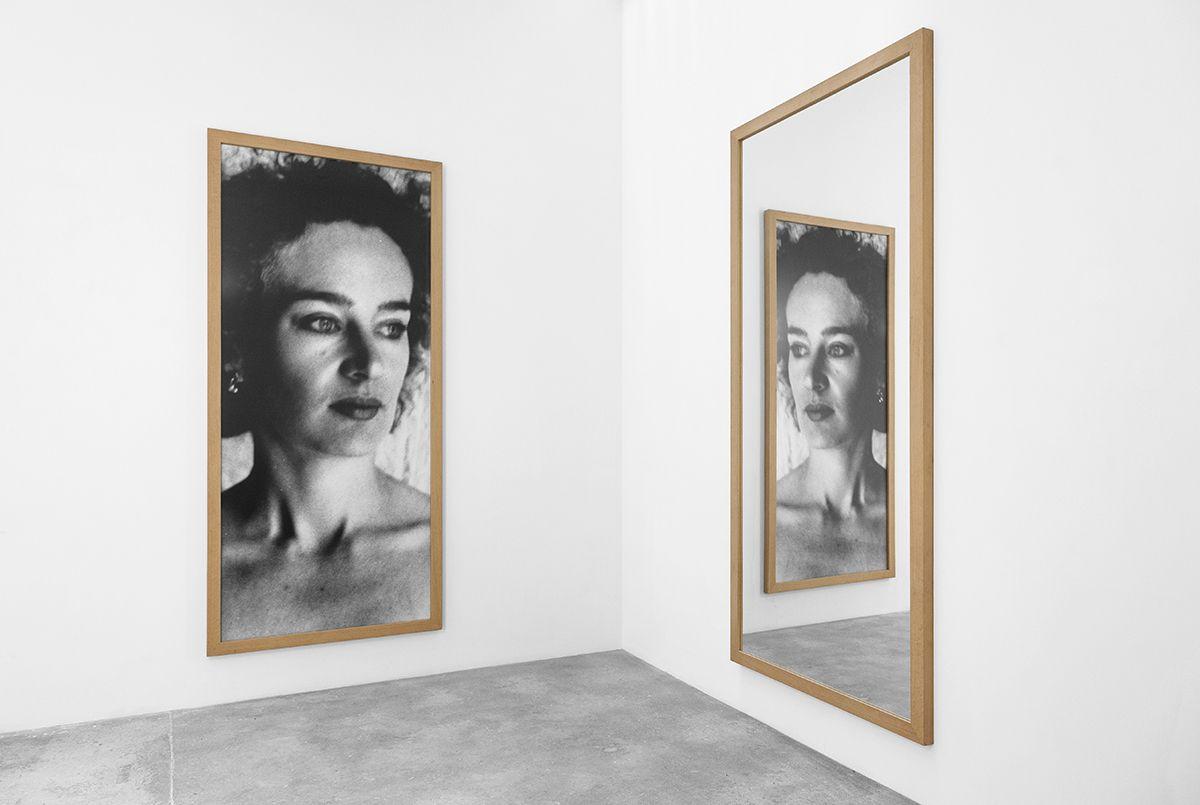 Günther Förg  Ika, 1986 Black & white photograph, mirror  Part 1: 110 1/4 x 51 1/8 inches (280 x 130 xm)  Part 2: 110 1/4 x 51 1/8 inches (280 x 130 cm)