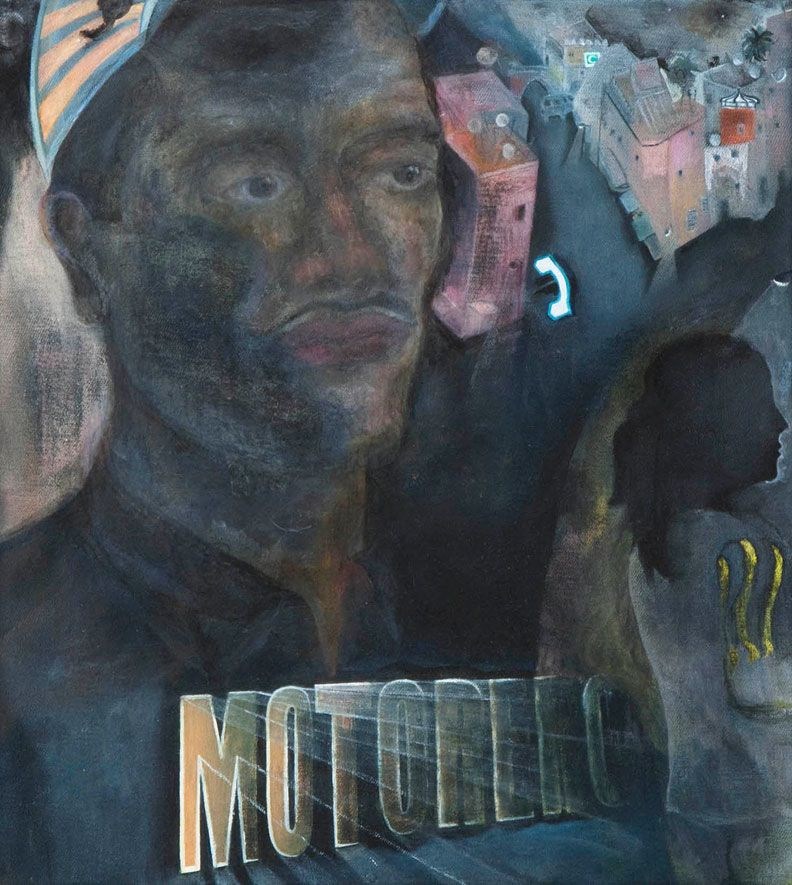 Katharina Wulff, Motorero, 2010, oil and charcoal on canvas, 15 3/4 x 14 1/4 inches