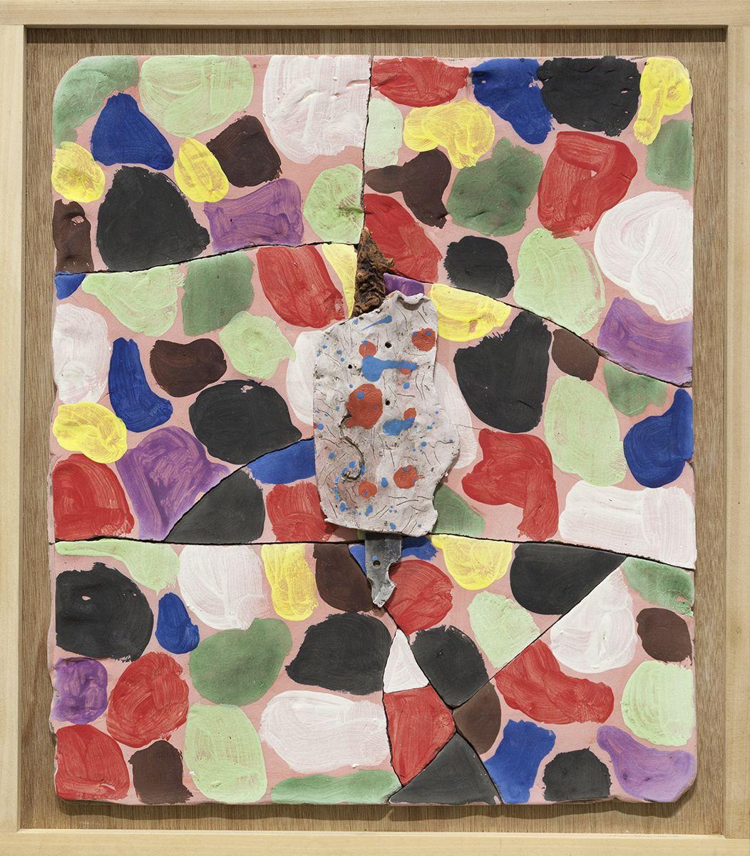 Richard Hawkins  Baby Diaper and Dagger Weapon Against Succubi, 2016  Glazed ceramic in artist's frame   22 3/4 x 25 3/4 x 3 1/2 inches (57.8 x 65.4 x 8.9 cm)