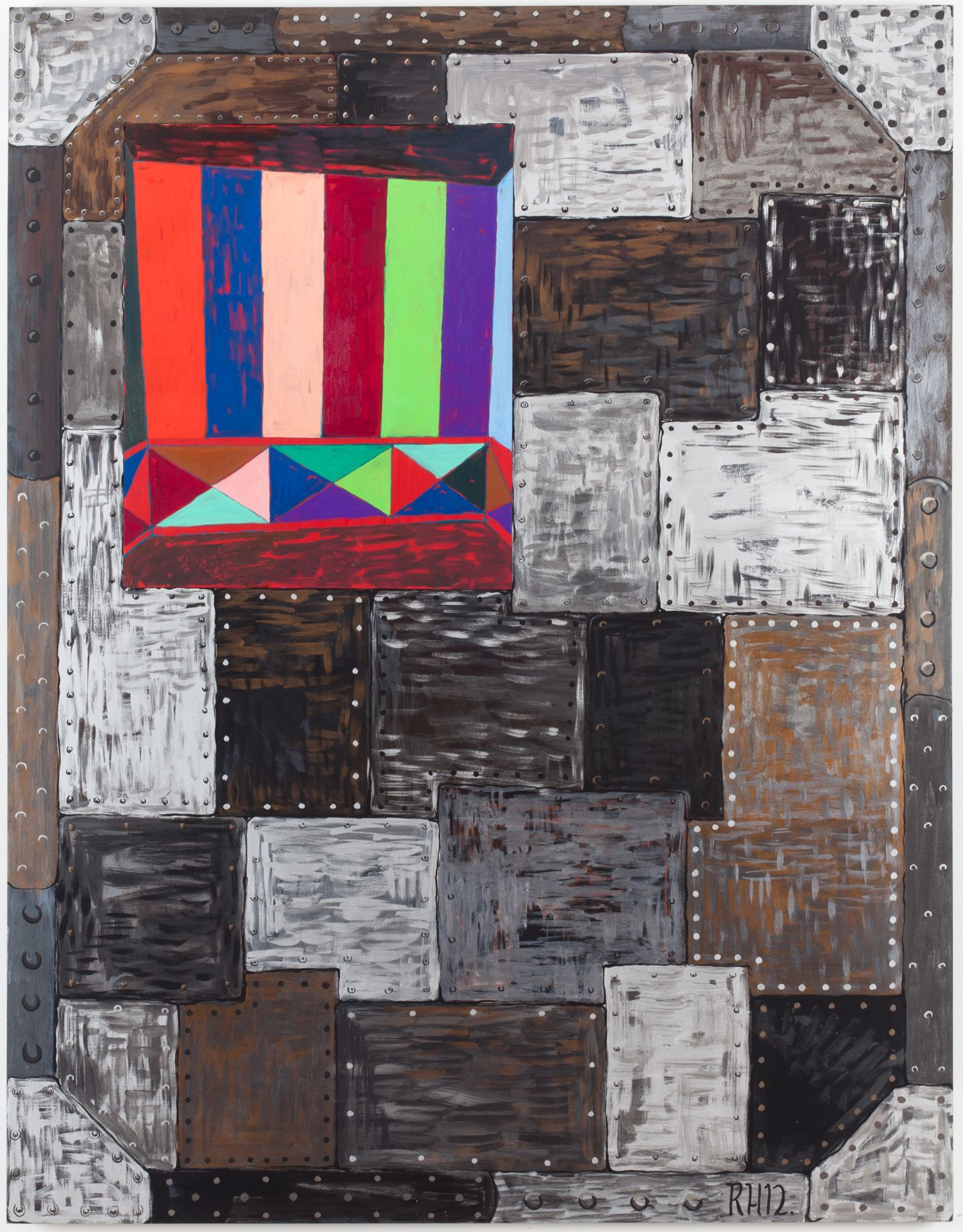 Vault #1, 2012, Oil on canvas and acrylic on panel, 63 x 49 x 1 5/8 inches (160 x 124.5 x 4.1 cm)