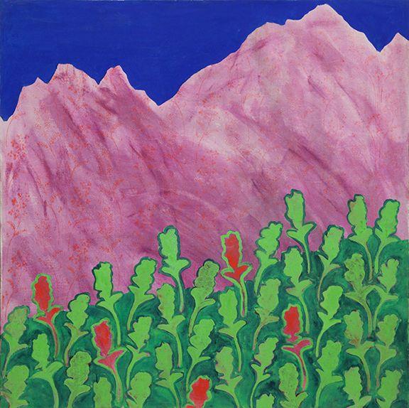 Konrad Lueg, Alpenlandschaft, 1964, Casein tempera on canvas, 39 3/8 x 39 3/8 inches