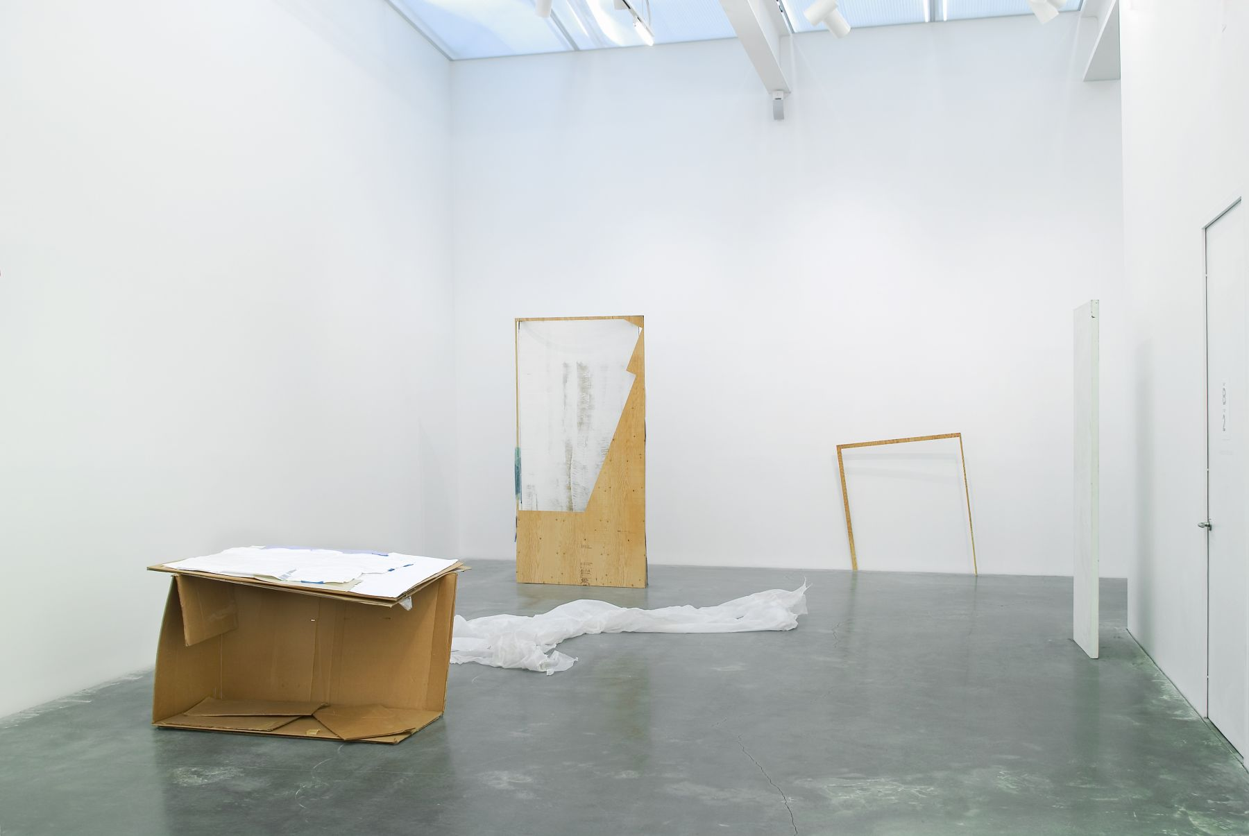 Gedi Sibony The Circumstance, the Illusion and Light Absorbed as Light, 2007 Wood, cardboard, paint, plastic, tape Dimensions variable