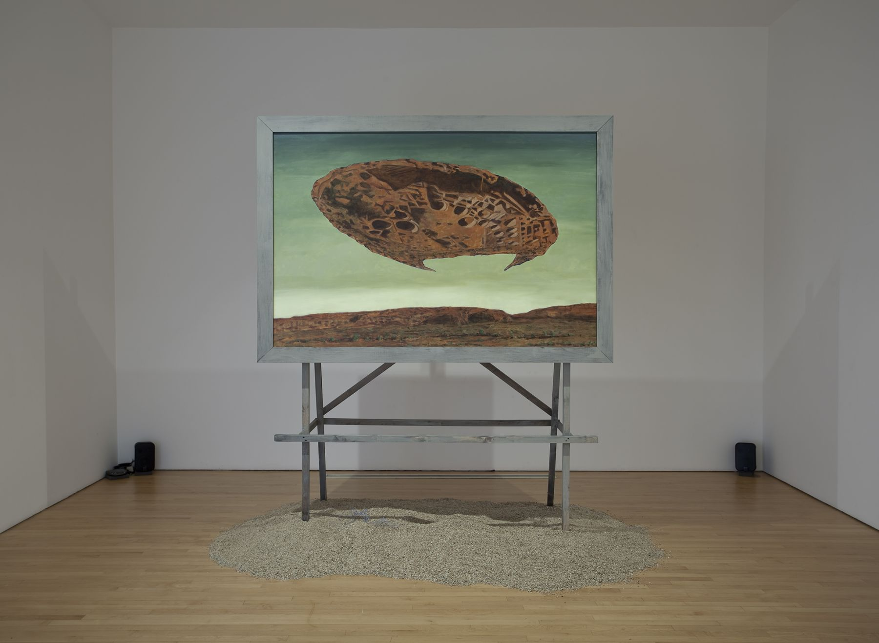 Chaco Rising, 2008, Acrylic on canvas, wooden stand, vermiculite, speakers