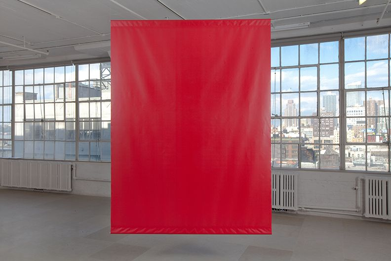 Standard Hallucination, 2009, printed canvas banner, 96 x 72 inches each, Installation view, Greene Naftali, New York, 2009