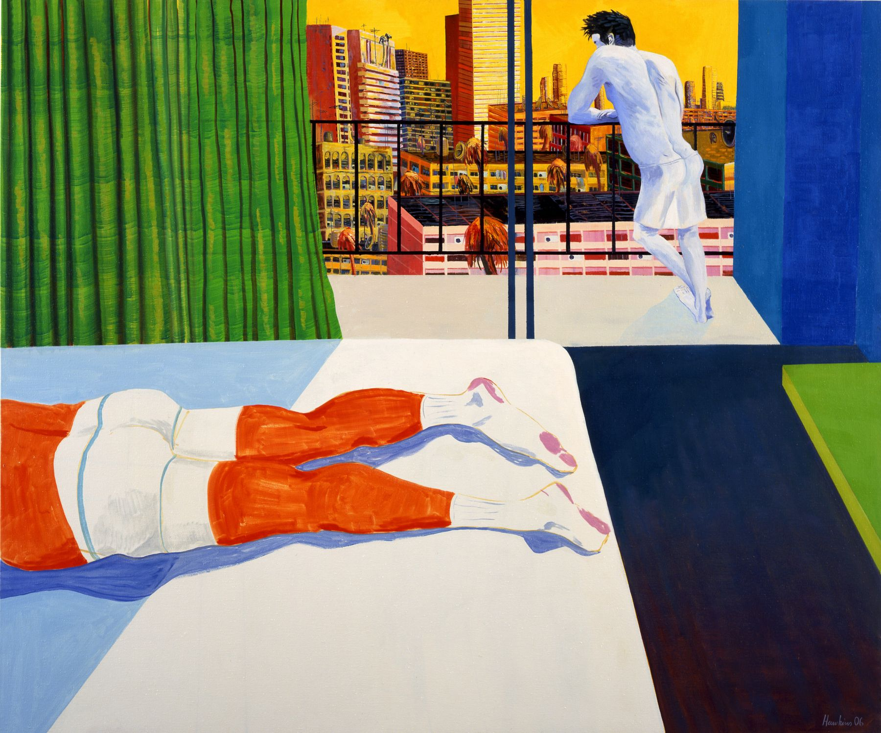 Sunburn (spitting off the balcony), 2006, oil on linen, 60 x 72 inches
