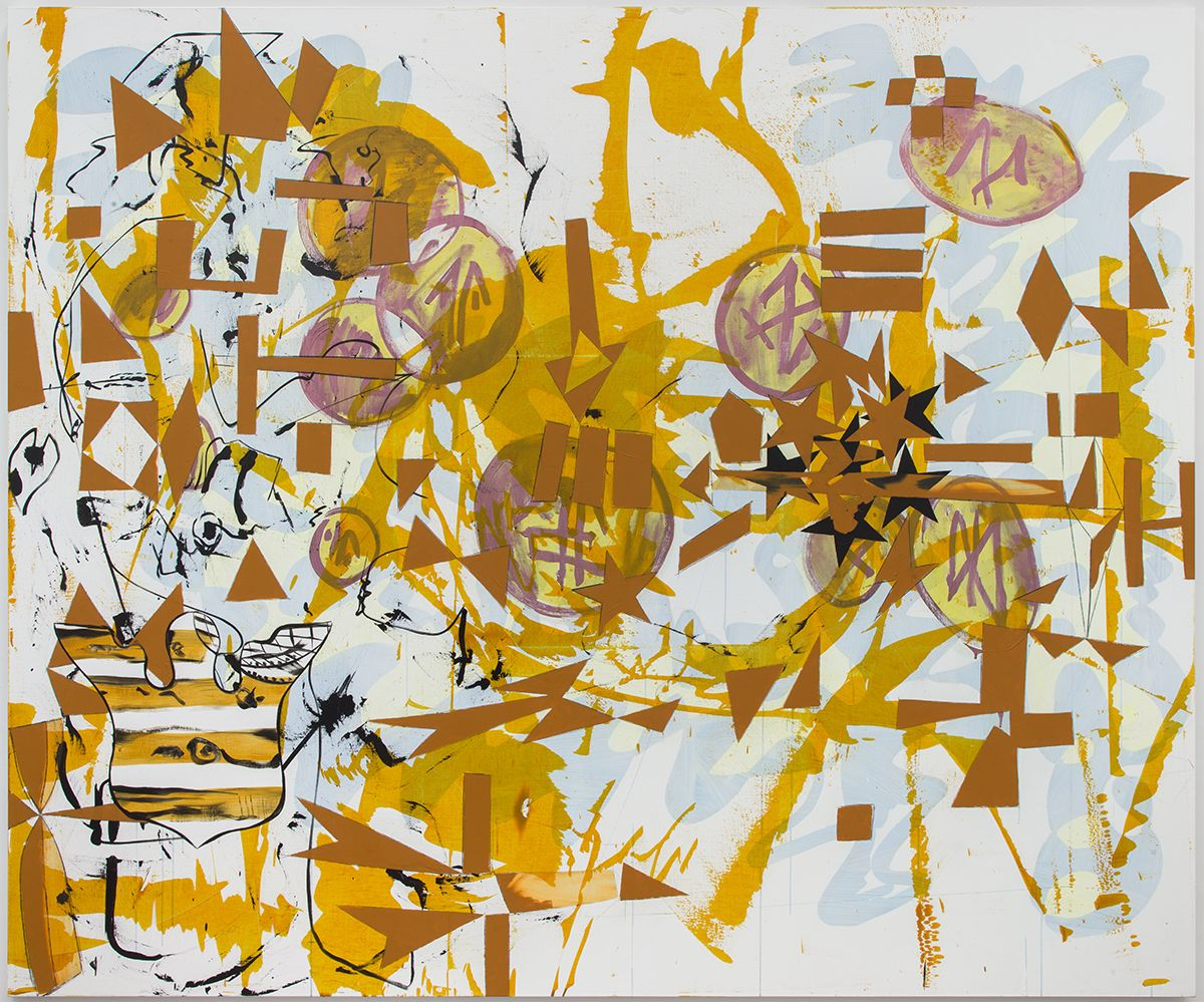 Charline von Heyl,  A Dauphin Sat Down to Dine on Dust (Alone in a Field of Wheat), 2018,  Acrylic and oil on linen,  90 x 108 inches (228.6 x 274.3 cm)