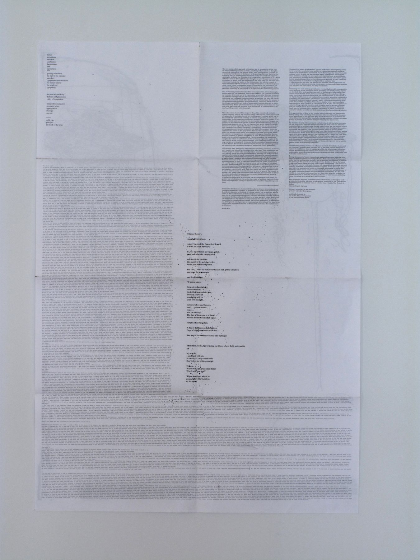 josef strau, Confession and Lamentation, 2008, inkjet print poster, 38 ½ x 26 ½ inches