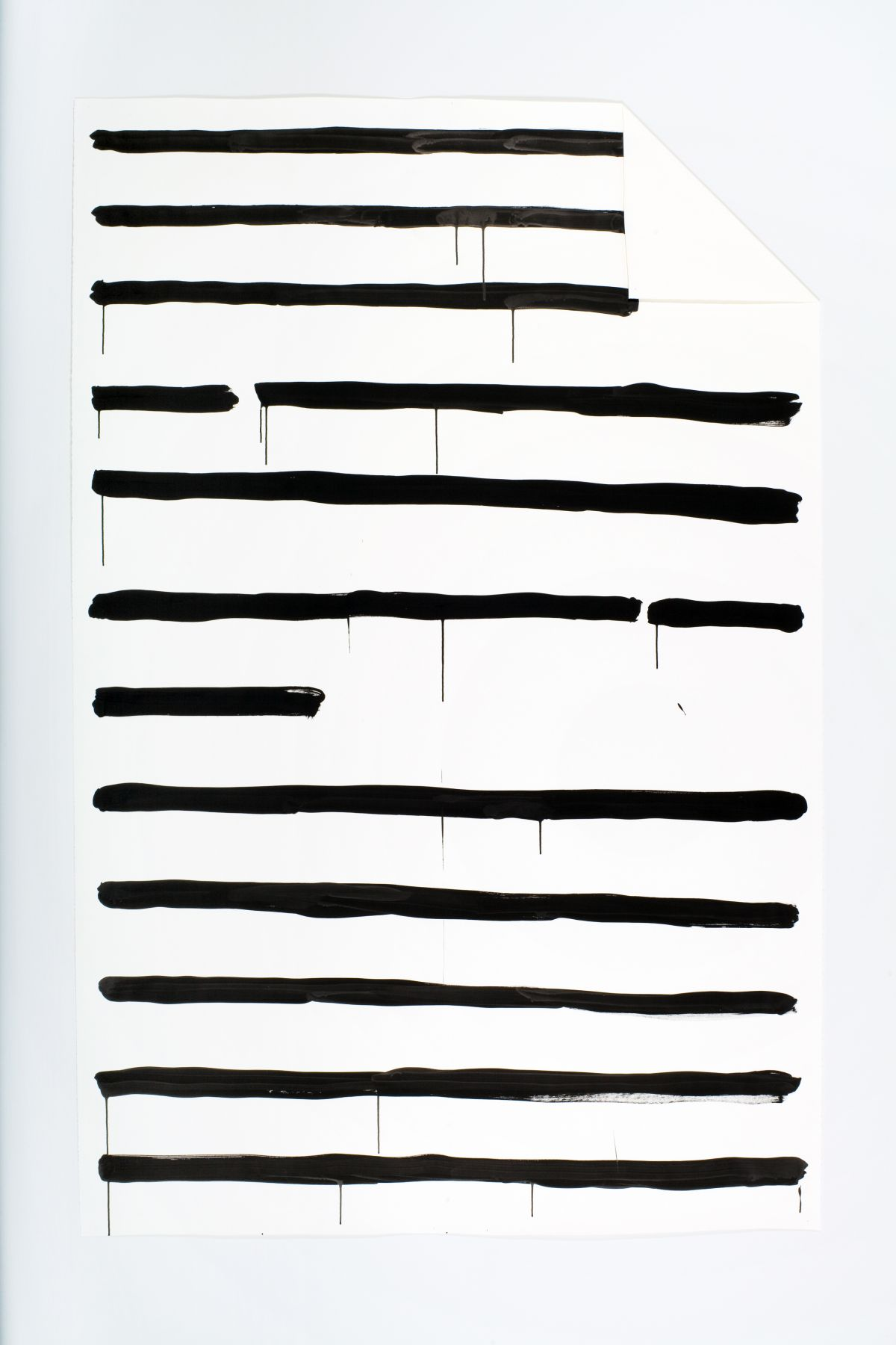 The body of Oh Untitled (truetype font), 2009, ink on paper and mixed media, 91 x 58 3/4 inches