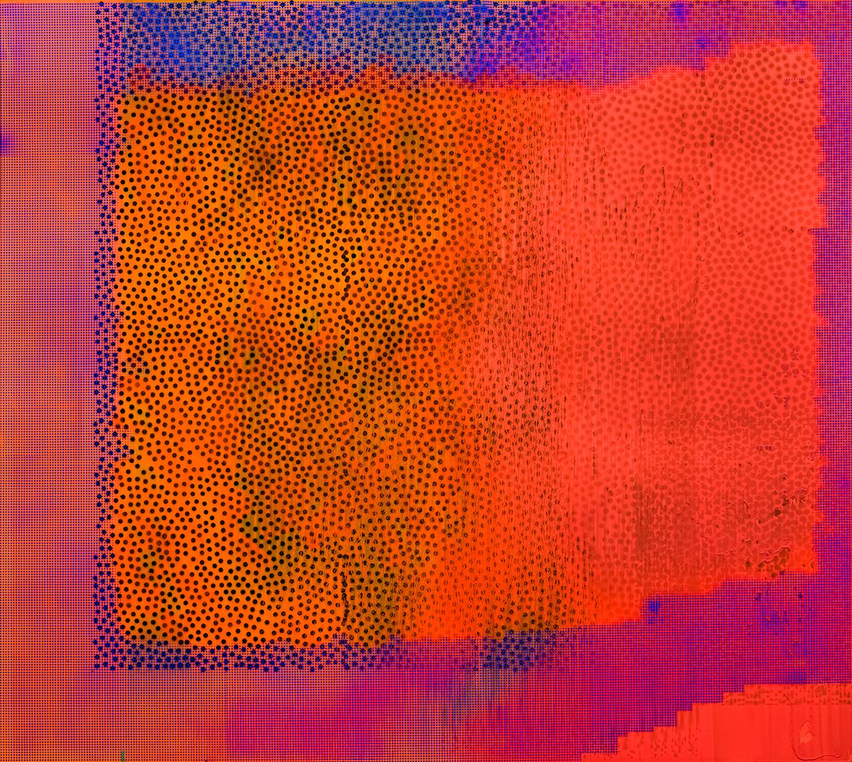 Jacqueline Humphries Untitled, 2015 Oil and enamel on linen 114 x 127 inches (289.6 x 322.6 cm)